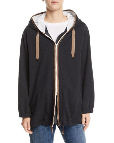Silk-Trim Cotton Zip-Front Hoodie