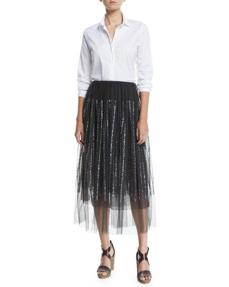 Sequin-Striped Tulle Midi Skirt