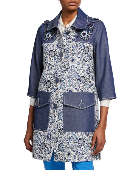 3/4-Sleeve Floral-Print and Denim Coat w/ Embroidery