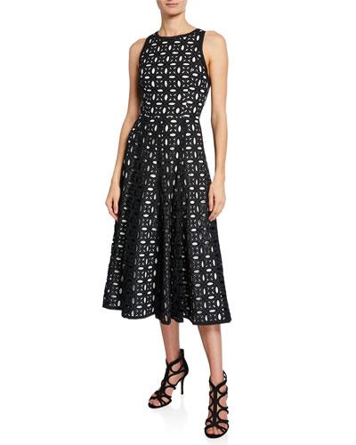 Sleeveless Eyelet-Embroidered Midi Dress