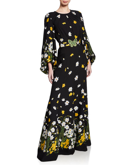 Andrew Gn FLORAL-PRINT JEWEL-NECK LONG BLOUSON-SLEEVE GOWN