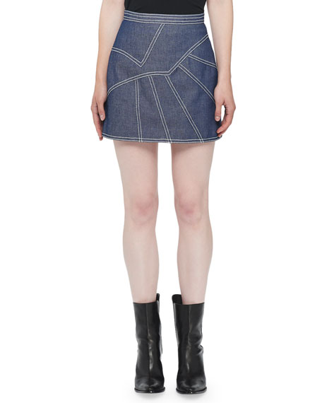 Topstitched Denim Mini Skirt