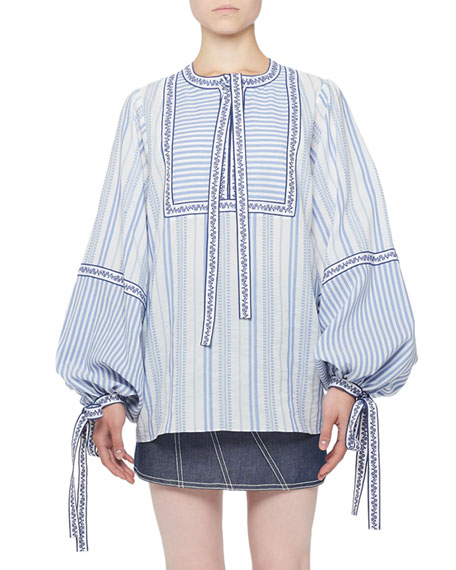 Andrew Gn Long-Sleeve Mixed Stripe Tie-Neck Peasant Blouse