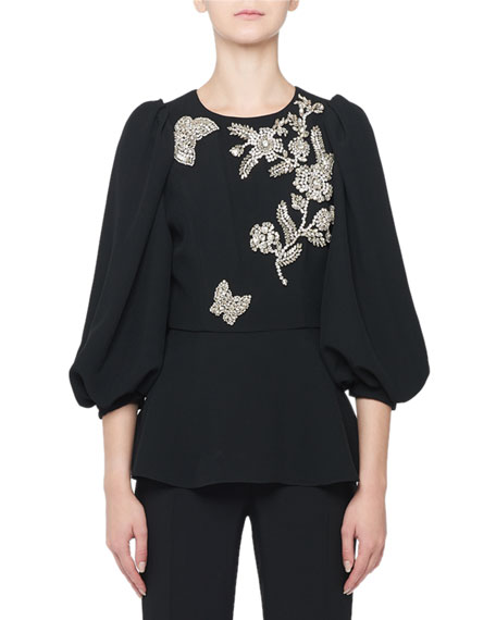 Andrew Gn 3/4-Sleeve Floral Embroidered Blouse