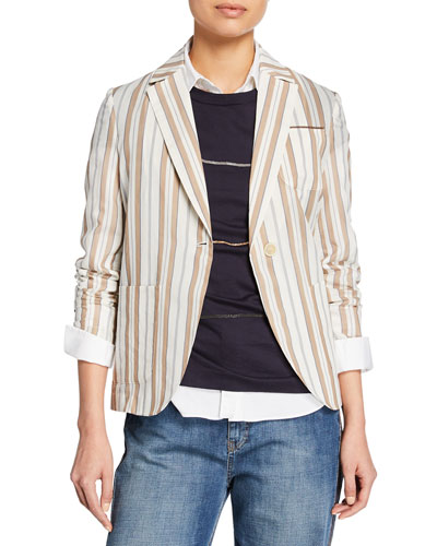 Striped Cotton-Silk Jacket
