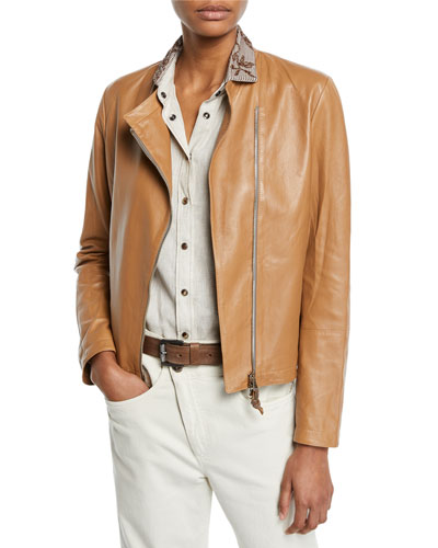 Zip-Front Napa Leather Jacket