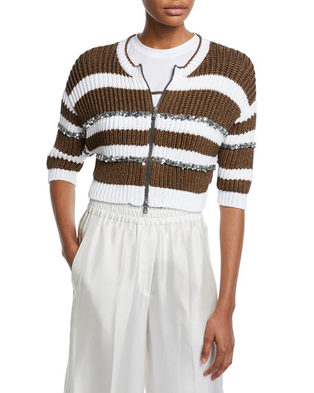 Pailletteed-Striped Ribbed Zip-Front Cardigan