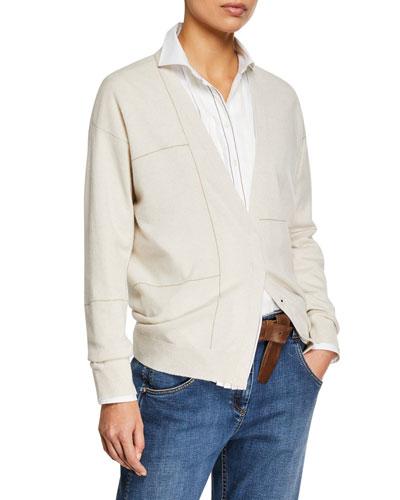 Metallic-Striped Cashmere Cardigan