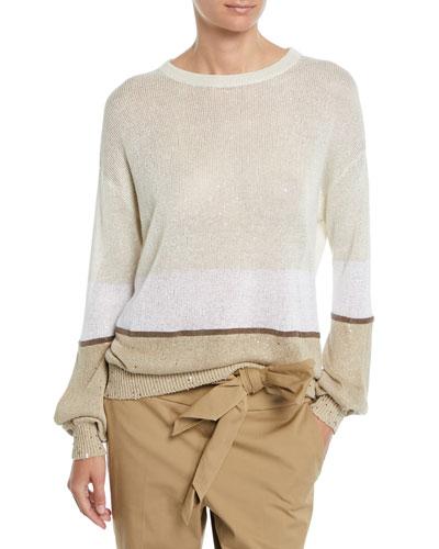 Crewneck Paillettes Linen-Silk Rugby-Stripe Sweater
