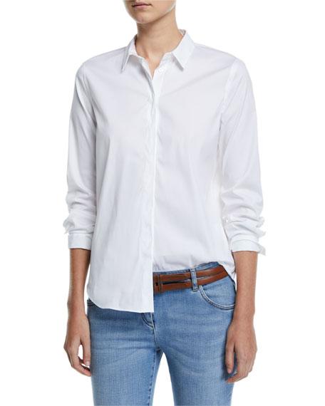 Monili-Collar Poplin Button-Front Blouse