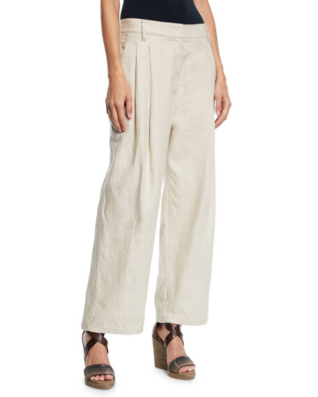 Rustic Linen Wide-Leg Cuffed Trousers