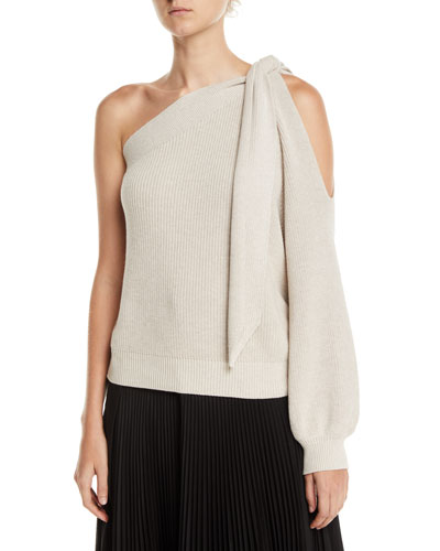 Knotted One-Shoulder Ribbed Cotton Sweater
