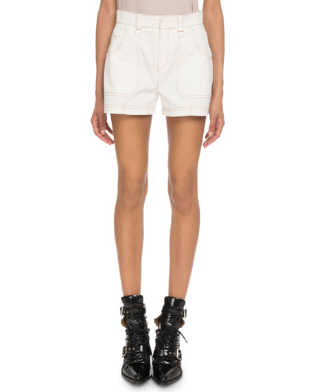 Chloe Mid-Rise Topstitched Shorts