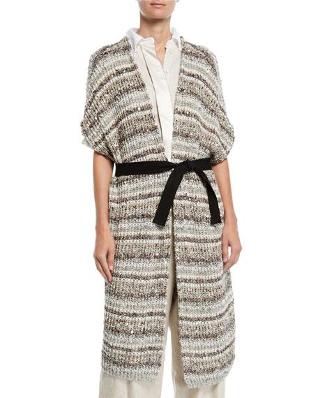 Brunello Cucinelli Sequined Striped Cotton-Net Duster Cardigan