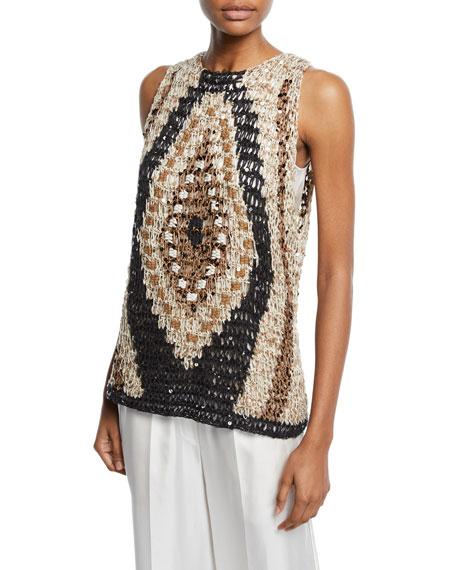 Brunello Cucinelli Sleeveless Shimmer Intarsia Sweater