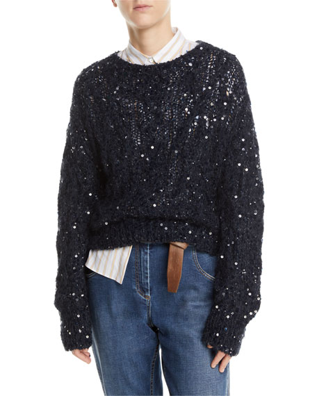 Brunello Cucinelli Sequined Crewneck Open-Knit Sweater