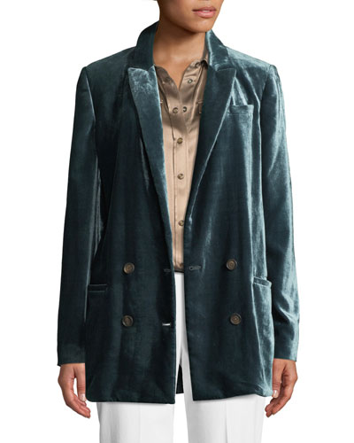 Double-Breasted Liquid Velvet Oversized Jacket