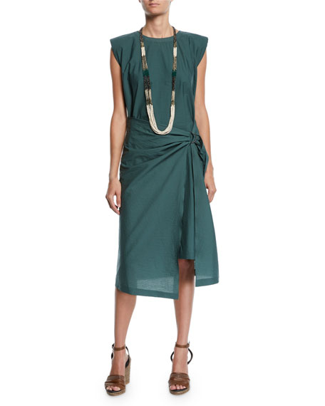 Brunello Cucinelli Poplin Cap-Sleeve D-Ring Sarong Dress