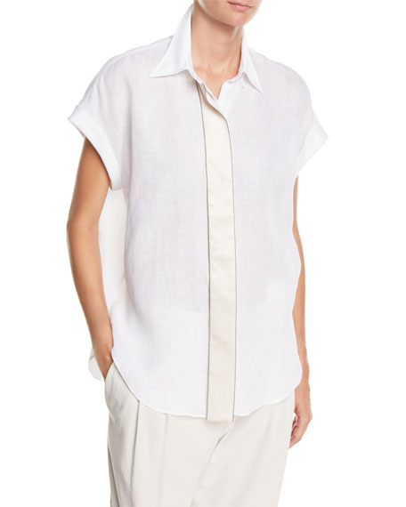 Brunello Cucinelli Short-Sleeve Linen Blouse with Satin Placket
