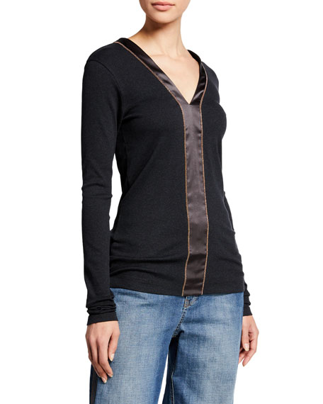 Brunello Cucinelli Long-Sleeve Ribbed Cotton Satin Strip Top