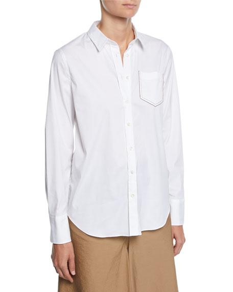 Brunello Cucinelli Long-Sleeve Button-Front Cotton Poplin Shirt