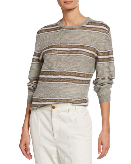 Brunello Cucinelli Shimmer=-Striped Crewneck Sweater
