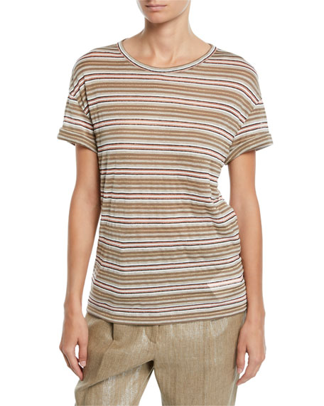 Brunello Cucinelli Shimmer-Striped Cotton-Linen Rolled-Sleeve