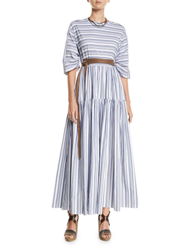 3/4-Sleeve Striped Cotton Midi Dress