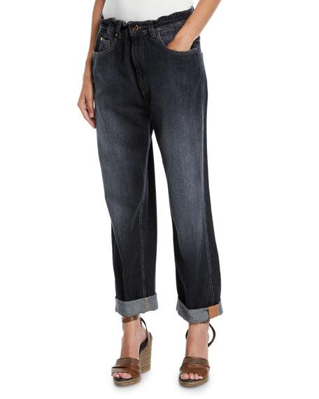 Brunello Cucinelli Dark Faded Denim Boyfriend Jeans with