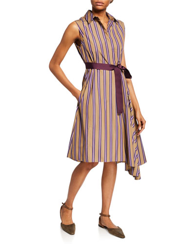 Striped Belted Button-Front Dress