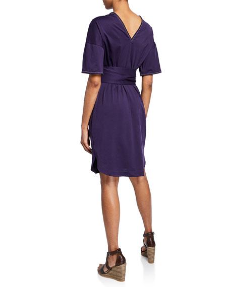 Monili-Beaded 1/2-Sleeve Cotton Wrap Dress