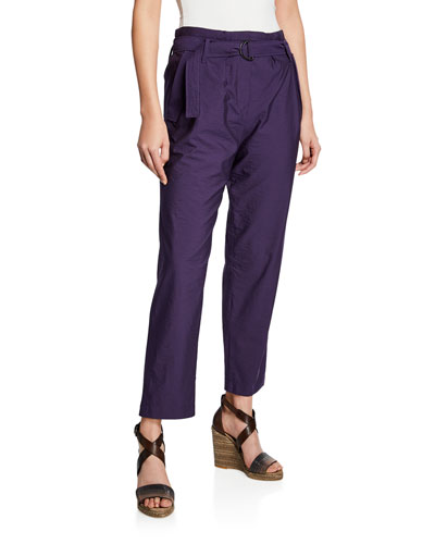 D RING PANT IN CRINKLE COTTO