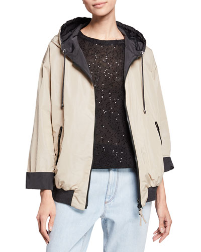 Reversible Taffeta Hooded Bomber Jacket