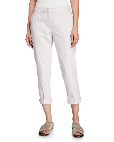 Cotton-Twill Zip-Front Cigarette Pants