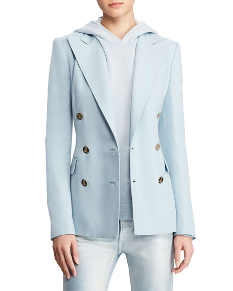 Camden Cashmere Powder Double-Breasted Blazer in Blue