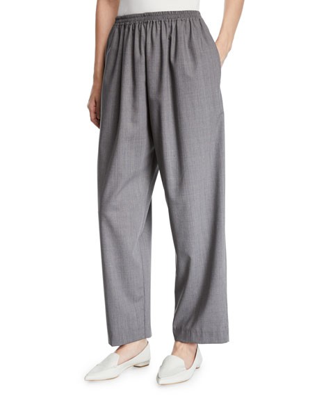 Eskandar Tasmanian Mini-Plaid Wool Trousers