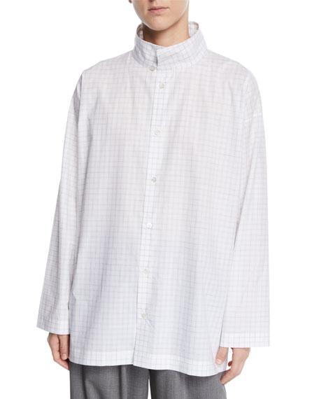 Eskandar Cottons SLIM A-LINE BRUSHSTROKE PLAID TWO-COLLAR TOP