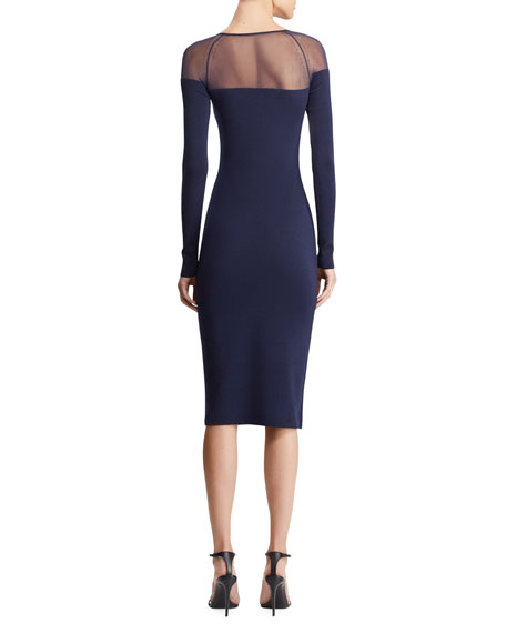 Long-Sleeve Illusion Body-Con Dress