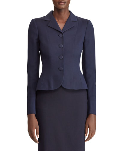Beatrice Button-Front Wool-Silk Blazer