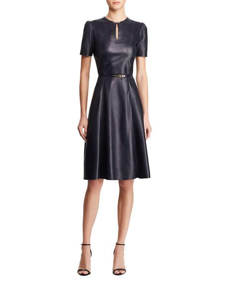 f32b05832035 Ralph Lauren Collection Farren Belted Leather Midi Dress