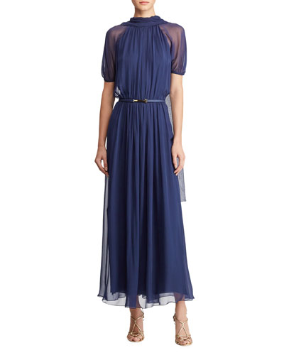 Darabont Short-Sleeve Belted Scarf-Back Long Dress
