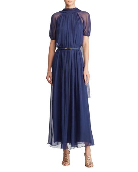 Darabont Short-Sleeve Belted Scarf-Back Long Dress