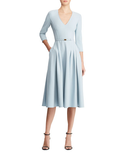 V-Neck Belted Wool A-Line Midi Dress