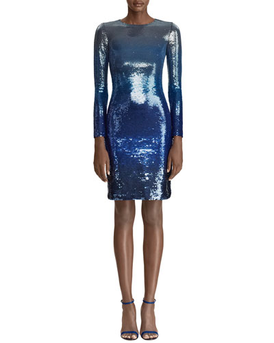 Long-Sleeve Ombre Sequin Body-Con Dress
