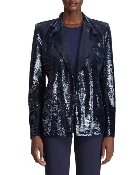 Camden Sequined Blazer Jacket in Navy