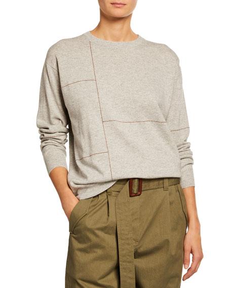 Brunello Cucinelli Cashmere Monili-Patchwork Crewneck Sweater