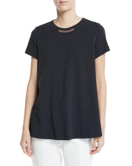 Brunello Cucinelli Monili-Front Crewnweck Short-Sleeve T-Shirt