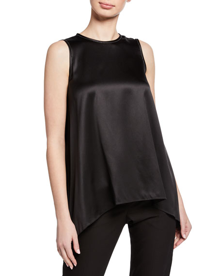 Brunello Cucinelli Silk Asymmetric Scoop-Neck Tank