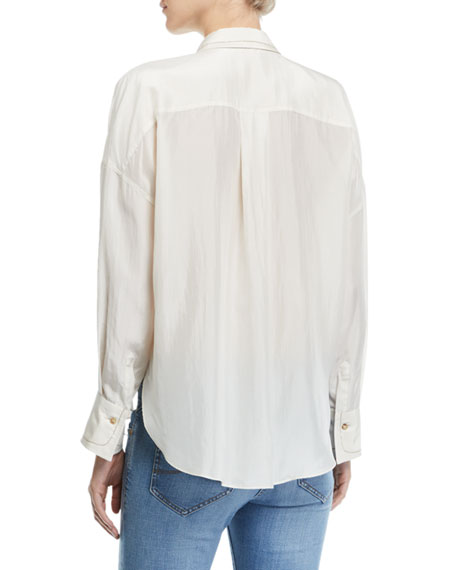 Monili-Beaded Long-Sleeve Japanese Silk Blouse