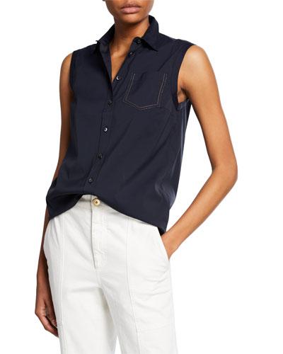 Cotton Poplin Sleeveless Button-Front Blouse
